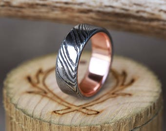 """The """"Vulcan"""" - Deep Etched Damascus Steel Wedding Band with a Rose Gold Lining - Staghead Designs"""
