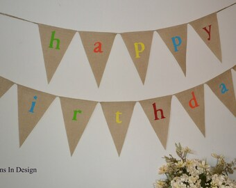 Birthday Banner  ...  Burlap Banner ...  Party Decoration  ...  Happy Birthday Decorations