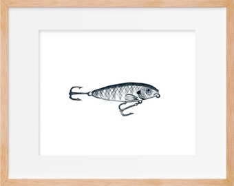 Fishing Lure 107 Print, Hook, Fishing Decor, Fishing Print, Hunting and Fishing, Fish Art, Boys Room Art, Home Decor, Watercolor Print