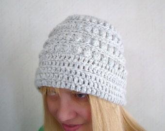 Gray Slouch Hat,  Grey Bobble Hat, Crochet Beanie, White Grey Tam, Grey Ragg Crochet Hat, Salt Pepper Beanie