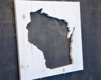 Wisconsin State Wood Silhouette Cutout