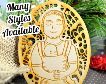 Babywearing Daddy - Wooden Ornament - Christmas Ornament - Christmas Keepsake - New Baby Ornament - New Daddy Gift New Dad