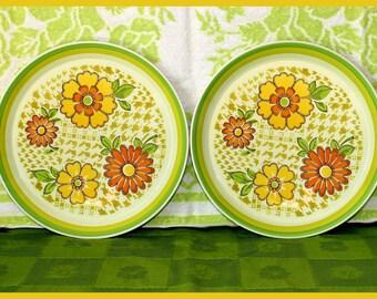 Mikasa Mod Flower Power set of 2 Dinner Plates Ceramic Twice Nice Pattern Playmates Plus, Vintage -1970's