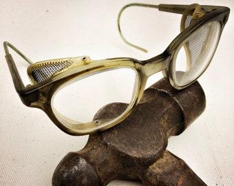 Vintage AO Horn Rim Safety Glasses - Industrial Eyewear