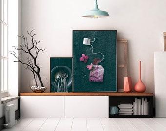 The Art of Tea - Black, modern minimalist food photograph, kitchen wall art, tea bag, still life photograph, home decor, decorating ideas