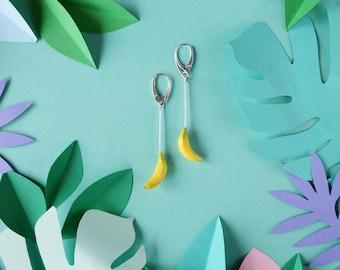 Banana earrings - tropical jewelry - foodie gift- yellow earrings - long earrings SILVER - polymer clay earrings - miniature food earrings