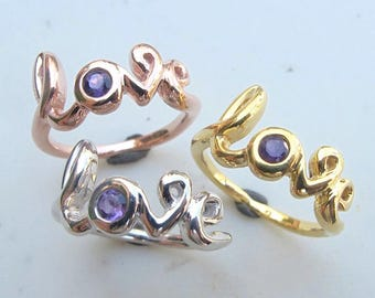 Amethyst Ring Gold Love Rose Gold Sterling Silver Boho February Birthstone Ring