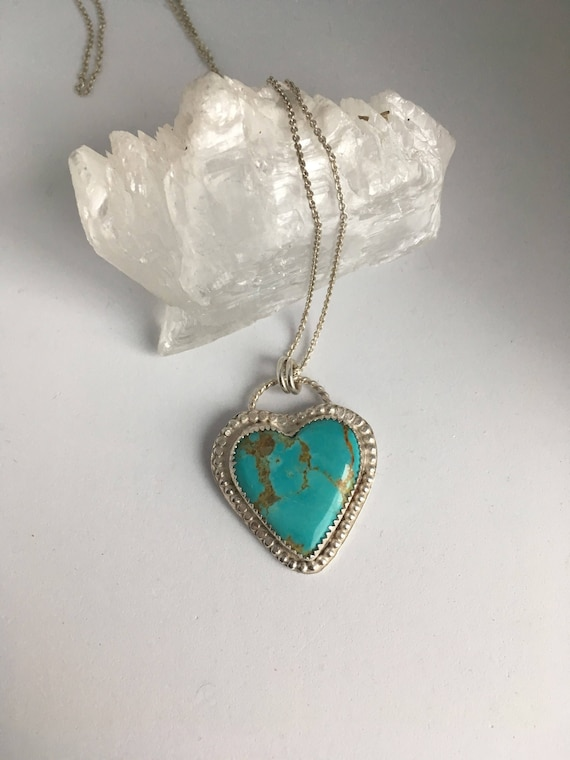 Sweetheart Collection, Turquoise Heart Necklace, Hand Stamped, Be Here Now.