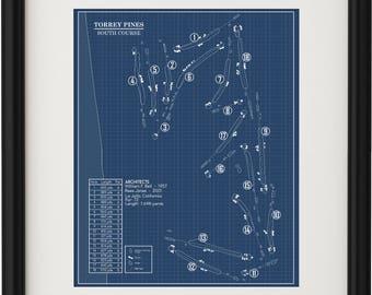 Torrey Pines Golf Course - South Course Blueprint (Print)