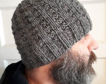 Hand knit waffle hat.