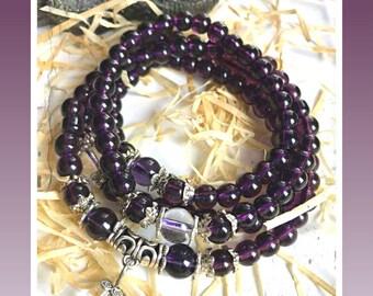 Amethyst, Amethyst Mala, Mala, Meditation bracelet, Wrist wrap, Meditation beads, Crystal Bracelet, Healing Beads, Rosary, Reiki Jewelry