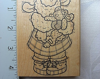 Darcie's Country Folk Lamb with Teddy Bear DESTASH Rubber Stamp, Used Rubberstamp, Sheep holding teddy bear stamp
