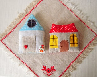 Lavender sachets, set of two houses shapes