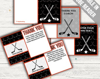 Hockey Thank You Cards (Ideal As A Thank You Coach Card, For Birthdays Or For Baby Showers). Add Your Own Text. Instant Download.