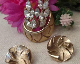 SALE Navette Rhinestone Brooch, Set, Earrings, Pinwheel, Clip On, Gold Tone, Matte Gold Tone Finish