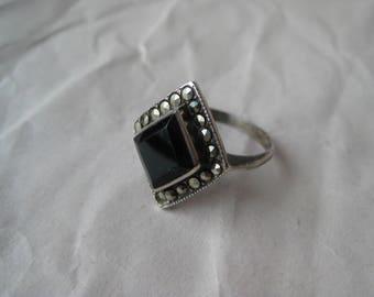 Black Onyx Marcasite Sterling Ring Vintage Stone 925 Silver Size 6 Diamond