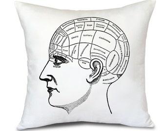 Decorative PIllow Cover, Phrenology Head , Antique Mystic Illustration, Psychic decor, Decor for accupunturist office