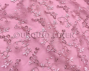 Basil Leaf Embroidery Fabric in Dusty Rose - Lace Fabric w/ Floral Sequined Embroidery Design- Best for Weddings, Bridal Parties, and Events