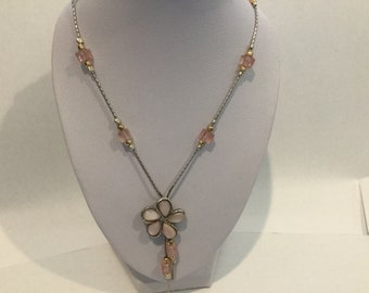 Sterling Silver 925 Hand made from Israel with Pink Mother of Pearl pendant and rose Quartz   beads necklace