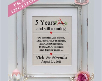 5th anniversary, 5 years married, 5 year anniversary, gift for anniversary,  5th anniversary gift, anniversary for her ( ann403-5)
