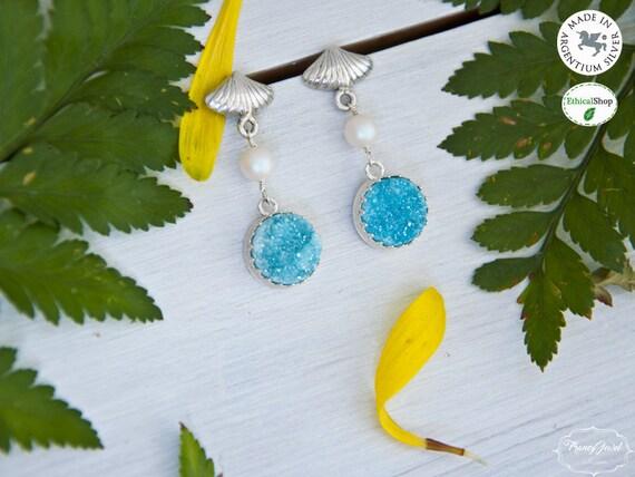 Dangle earrings, silver earrings, ocean earrings, pearl earrings, for her, bridesmaid gift, elegant earrings, dainty earrings, made in Italy