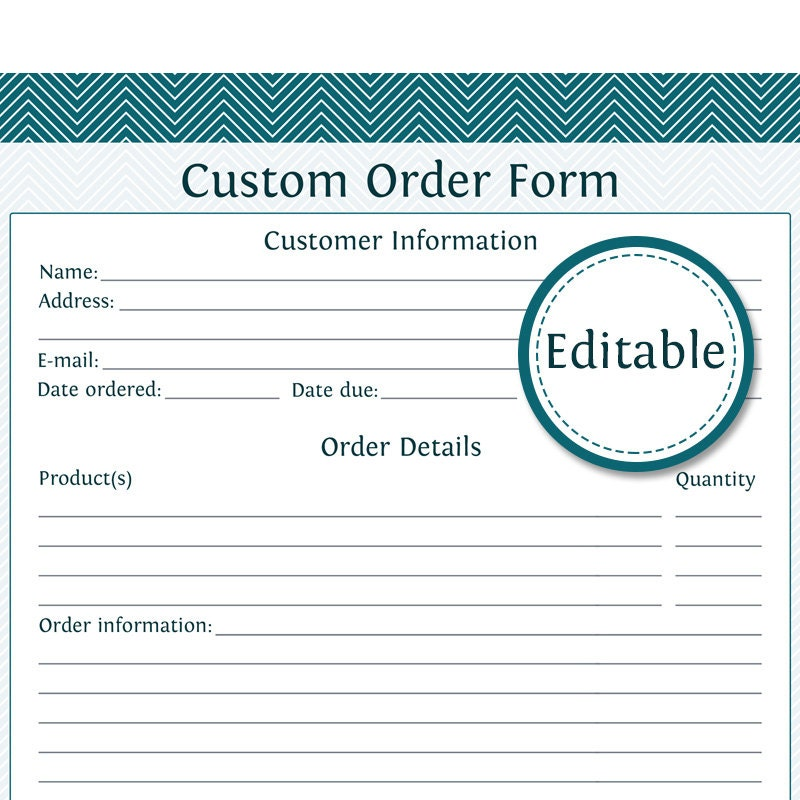 Custom Order Form Fillable Business Planner Printable