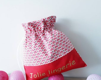 """Personalized lingerie bag """"Pretty lingerie"""" letter in gold fabric red fans, """"mothers day gift""""."""