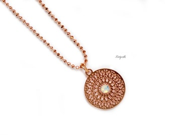 Rose-gold coloured Necklace - Mandala with a Opalite
