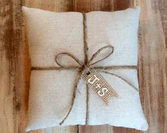 Natural Cotton Ring Bearer Pillow With Jute Twine and Burlap Tag- Personalize With Initials- 3 Sizes -Wedding/Ceremony-Natural/Minimalist
