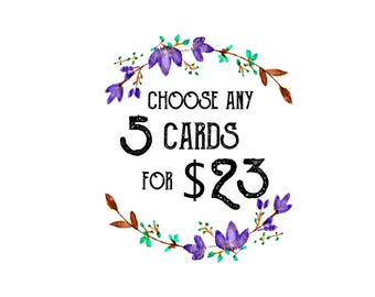 5 Cards for 23 Dollars / Variety Pack / Card Pack / Cards for Friends / For Coworker / Greeting Cards / Funny Greeting Cards / Pun Cards