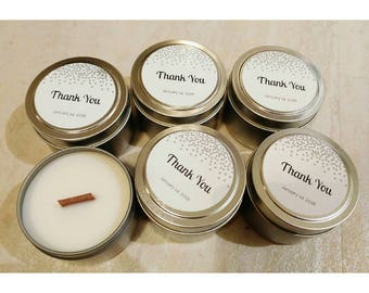 Set of 12 Tin Soy Candle 4 oz | Soy Candle | Thank You | Wedding | Custom Candle | Favor Candle