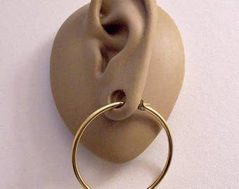 "Monet 1 1/2"" Extra Large Hoops Pierced Post Stud Earrings Gold Tone Vintage Round Thing Tube Open Ring Dangle Surgical Steel Post Snap Bar"