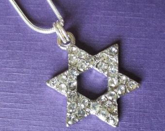 Kette Davidstern Strass Halskette religiösen Silber Magen David jüdisch Judaica Mädchen zwischen Teen Schmuck Fledermaus Bar Mizwa Hanukkah Geschenk