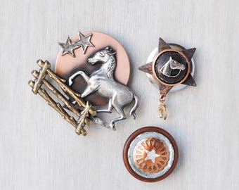 3 Horse Lover Fridge Magnets - copper brass silver metal equestrian decor - recycled vintage jewelry buttons - refrigerator magnet set