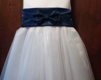 Navy blue sash, Navy flower girl dress, Navy blue flower girl dress, Navy blue dress, Boho flower girl dress, Navy Country wedding