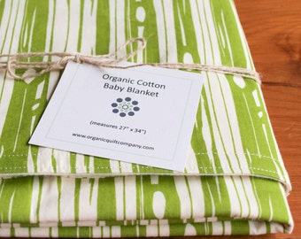 Green Baby Blanket; Woodland Baby Girl Crib Blanket; Baby Boy Receiving Blanket; Handmade, Organic Cotton Baby Shower Gift BOIS GRASS