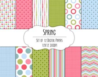 Spring Digital Scrapbook Paper 12x12 Pack - Set of 12 - Polka Dots, Chevron, Stripes - Instant Download - Item# 8244