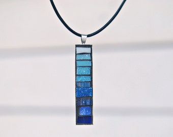 Pendant Necklace, Mosaic Jewelry, Blue Jewelry, Unique Gifts for Women
