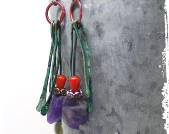 Raw Amethyst Dangle Earrings Colorful Gypsy Style for Women Rough Stone Tribal Statement Festival Fringe Earrings