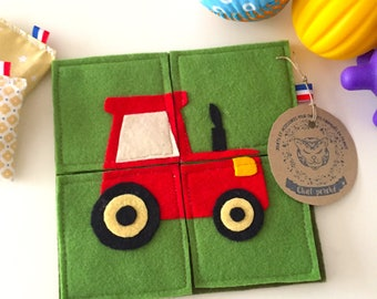 """The Garden tractor"" felt puzzle"