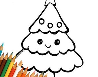 Christmas Tree Kawaii Cute Drawing Coloring For Kids Download Printable Page Simple Easy Last Minute Book