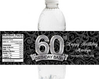 60th Birthday Water Bottle Labels | Waterproof Birthday Labels | Set of 10