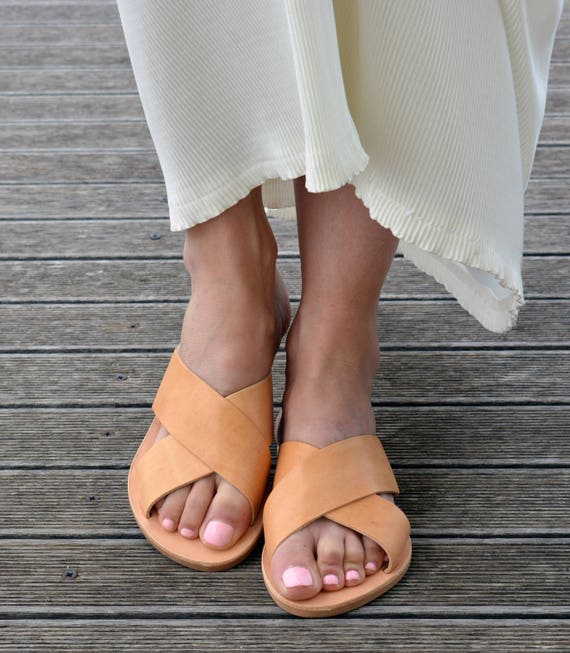Sandals Black Leather Black Leather Criss Sandals Greek Sandals Flipflops Cross Black Slides THq10T