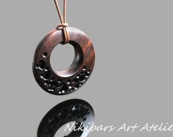 Wood Necklace, Round Necklace, Round Wood Necklace, Walnut Pendant, Wood Pendant, Wood Jewelry, Wood Round Pendant, Walnut Wood Necklace