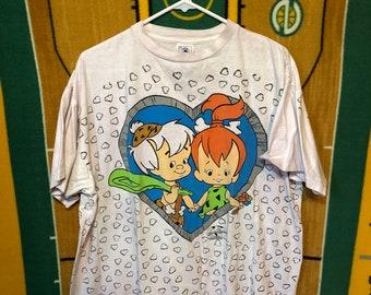 Vintage 90's 1994 Flintstones Pebbles and Bam Bam Love T Shirt Mens size XL Hanna Barbera
