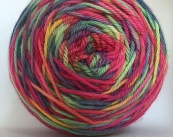Rainbow Road Hand Dyed DK 75 Superwash Wool 25 Nylon Yarn