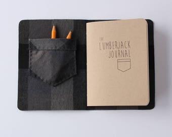 Lumberjack Journal // grey Leather and grey plaid, book, lumberjane, pocket, notebook, journal, blank journal, blank book, travel journal