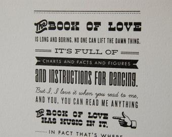 Book of Love Letterpress Print