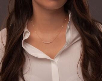 Rose quartz bar necklace, rose quartz jewelery, gemstone bar necklace, dainty bar necklace, tiny bar necklace, tiny bar jewelry, pink bar