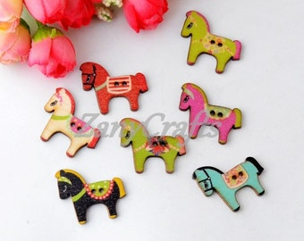 10/20/40 Various Coloured Horse Shaped 2 Holed Wood Sewing Buttons Scrapbooking, Craft, Card Making, Embellishments